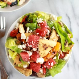 Chicken Gyro Salad with Home Pita Chips, Watermelon and Feta