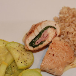 Chicken Ham, Basil and Swiss Cheese Roulade
