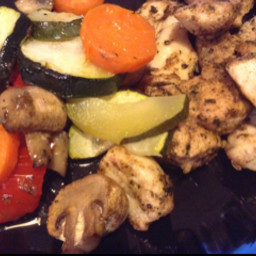Marinated chicken with roasted vegetables