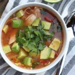 Chicken, Lime, and Avocado Soup