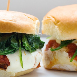 Chicken Meatball Sliders with Mozzarella and Wilted Spinach