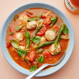 Chicken Meatballs and Green Beans in Tomato Broth