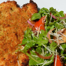 Chicken Milanese and Arugula Salad with Balsamic-Marinated Red Onions