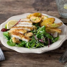 Chicken Milanese with Crispy Potatoes, Mixed Greens, and Creamy Lemon-Chive