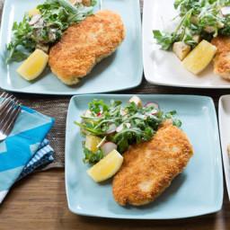 Chicken Milanesewith Arugula, Potato and Radish Salad