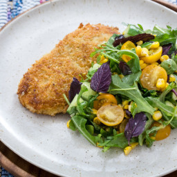 Chicken Milanesewith Summer Corn, Tomato and Cucumber Salad
