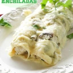 Chicken, Mushroom, and Spinach Enchiladas