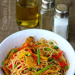 Chicken noodles with mustard sauce and honey-Foodvedam