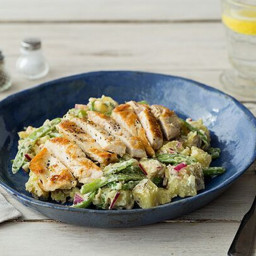 Chicken Paillard with Mustard Potato and Green Bean Salad