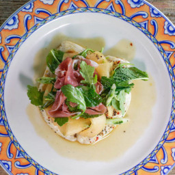 Chicken Paillard with Prosciutto, Melon and Mint Salad