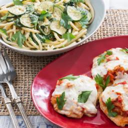Chicken Parmesanwith Fresh Mozzarella and Spinach-Zucchini Pasta
