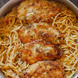 Chicken Pasta in Creamy White Wine Parmesan Cheese Sauce
