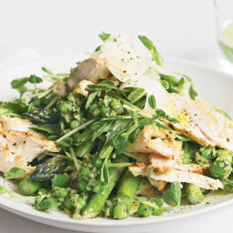 Chicken, peas and asparagus salad with basil pesto