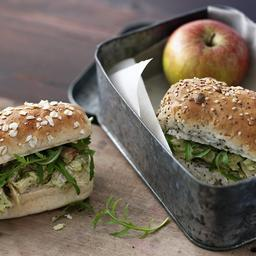 Chicken, pesto and rocket sandwich