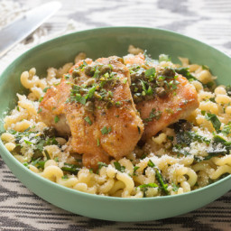 Chicken Piccatawith Fusilli Pasta and Garlic Chives