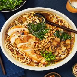 Chicken Ramen in a Shoyu-Style Broth plus Mushrooms, Chili-Garlic Oil & Cri