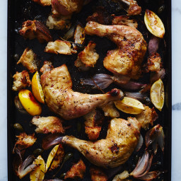 Chicken Roasted on Bread with Caperberries and Charred Lemons