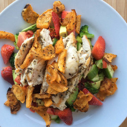 Chicken Salad with Sweet Potato Chips