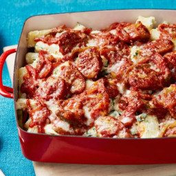 Chicken Sausage, Pepper and Onion Pasta Fake-Bake