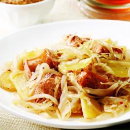 Chicken Sausage with Potatoes and Sauerkraut