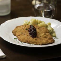 Chicken Schnitzelwith Fingerling Potato Salad and Lingonberry Jam