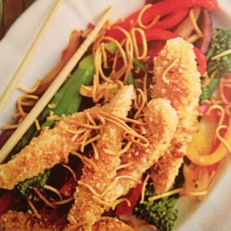 Chicken - Sesame chicken with tenderstem broccoli and crunchy noodles