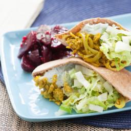 Chicken Shawarmawith Tzatziki, Hummus and Beet Salad