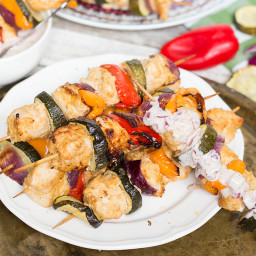 Chicken Shish Kabobs with Yogurt and Red Onion Dip