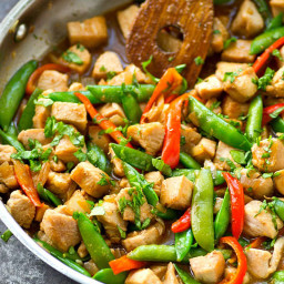 Chicken Snap Pea Stir-Fry with Sweet Peppers + Ginger