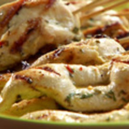 Chicken Souvlaki Sticks with Yogurt Dipping Sauce