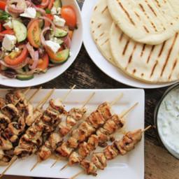 Chicken Souvlaki with Tzatziki Sauce and Greek Salad