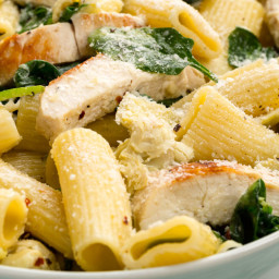 Chicken, Spinach, and Artichoke Rigatoni