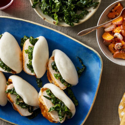 Chicken Steam Buns with Miso Kale & Roasted Vegetables