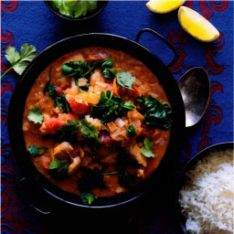 Chicken tikka masala  with baby spinach and  basmati rice