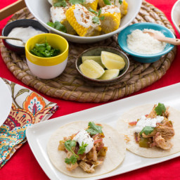 Chicken Tinga Tacoswith Tomatillo Salsa and Mexican-Style Corn on the Cob