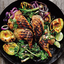 Chicken Under a Brick with Grilled Avocado, Scallion, and Red Onion