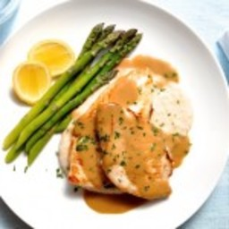 Chicken with Creamy Marsala Sauce, White Bean Puree and Asparagus
