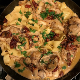 Chicken with Garlic and Mushrooms in a Sundried Tomato Cream Sauce
