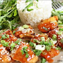Chicken with Sesame seeds and bitter-sweet sauce