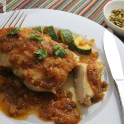 Chicken with tomatillo, tomato and cilantro sauce