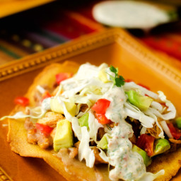 Chicken and Bean Tostadas with Chipotle Lime Sauce