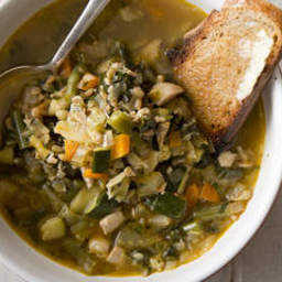 Chicken, barley and vegetable soup