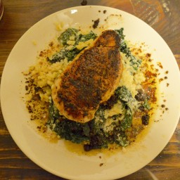 Chicken Breast over Kale Risotto