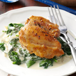 Chicken Thighs with Shallots  and  Spinach Recipe
