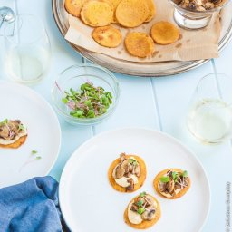 Chickpea Blini with Hummus and Mushrooms