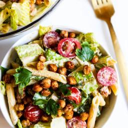 Chickpea Caesar Pasta Salad (vegan and gluten-free)