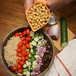 Chickpea Greek Salad with Balsamic Dressing