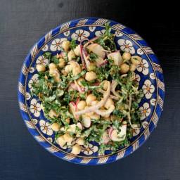 Chickpea Kale Salad Bathed in Sesame Orange Dressing - Whole Food Plant Bas