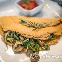Chickpea Omelet with Mushrooms, Onions and Kale