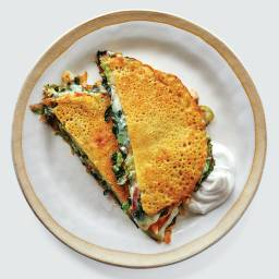 Chickpea Pancakes With Greens and Cheese